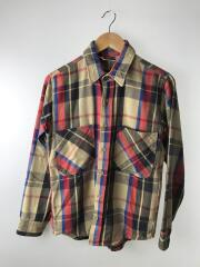 80s/ネルシャツ/長袖チェックシャツ/--/コットン/BEG/チェック