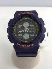 G-SHOCK/クォーツ腕時計/デジアナ/ラバー/BLK/パープル/GA-140-6A