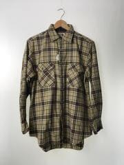 茶タグ/ネルシャツ/長袖チェックシャツ/LL/ウール/BEG/チェック