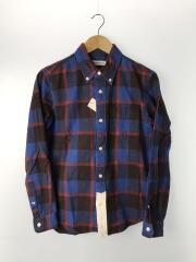 長袖ブロックチェックシャツ/M/コットン/ブルー/レッド/チェック