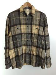 シワ加工チェックシャツ/長袖シャツ/--/ウール/ベージュー/グレー/チェック