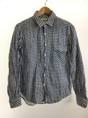 長袖チェックシャツ/S/コットン/BLU/ギンガムチェック/412070393-1322