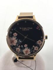 VICTORIA HYDE/クォーツ腕時計/アナログ/ステンレス/BLK/花柄