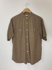 半袖シャツ/S/コットン/BRW/チェック/バンドカラーシャツ