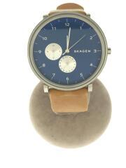 skw6167/クォーツ腕時計/アナログ/レザー/BLU/CML/カレンダー