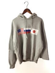 パーカー/M/コットン/GRY/18AW/DOUBLE SLEEVE HOODIE/国旗ロゴ