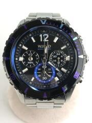 ワイアード/クォーツ腕時計/アナログ/ステンレス/BLK/SLV/VK63-K270