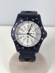 クォーツ腕時計/アナログ/レザー/WHT/NVY//  ×Ron Herman
