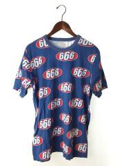 Tシャツ/M/コットン/BLU/総柄