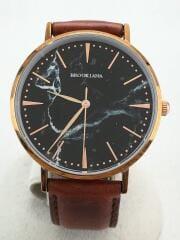 ROUND SLIM PEARL/クォーツ腕時計/アナログ/レザー/BLK/BRW