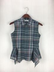 スリーブレスペプラムシャツ/36/コットン/GRN/チェック