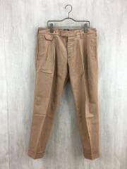 ツープリーツスラックスパンツ/48/コットン/BEG/裾ダブル
