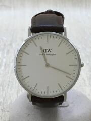 クォーツ腕時計/アナログ/レザー/ホワイト/ブラウン/0611DW