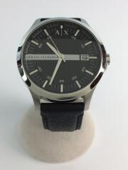 クォーツ腕時計/アナログ/レザー/ブラック/AX2101/ウォッチ/黒/革/ラグジュアリー