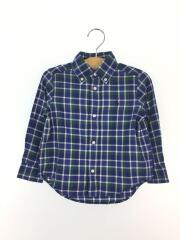 長袖シャツ/90cm/コットン/BLU/チェック