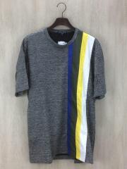 18ss/ナイロン切替しTシャツ/L/リネン/GRY/ストライプ