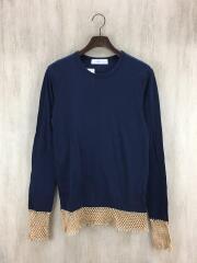 長袖Tシャツ/one/コットン/NVY/無地/メッシュレイヤードTシャツ/tv71-jk350