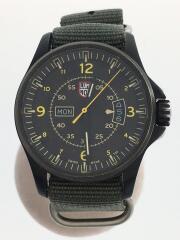 クォーツ腕時計/アナログ/エナメル/GRY/KHK/1820/フィールドデイデイト/リューズ擦れ有