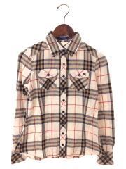 長袖シャツ/コットン/チェック/Cotton Flannel Shirt/ノバチェックエンブロイダリーロゴ