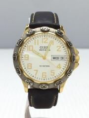 クォーツ腕時計/アナログ/レザー/SLV/BRW/WATERPRO/50METERS