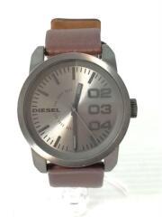 クォーツ腕時計/アナログ/レザー/SLV/シルバー/ブラウン/ディーゼル