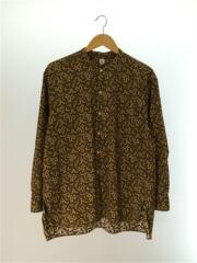 Band Collar Shirt/19SS/長袖シャツ/38/コットン/ブラウン/総柄/KS9SSH08