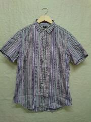 STRIPE S/S SHIRT.半袖シャツ/L/コットン/パープル/紫/ストライプ