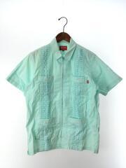 15SS/Zip Front Guayabera Shirt/キューバシャツ/半袖シャツ/S/コットン/BLU