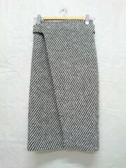 ツイード ラップスカート/34/ウール/WHT/白×黒/1635107010