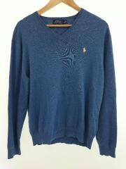 セーター(薄手)/M/ウール/BLU