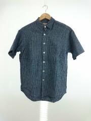 半袖シャツ/M/リネン/BLU/ストライプ