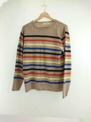セーター(薄手)/XL/カシミア/BEG/ボーダー