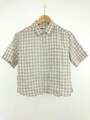 半袖シャツ/2/リネン/GRY/チェック