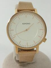 クォーツ腕時計/アナログ/ステンレス/WHT/コモノ