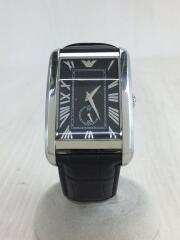 クォーツ腕時計/アナログ/レザー/BLK/使用感有/エンポリオアルマーニ