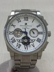 クォーツ腕時計/アナログ/ステンレス/WHT/SLV/SM1201