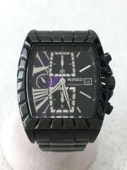 クォーツ腕時計/アナログ/ステンレス/BLK/BLK/クロノグラフ