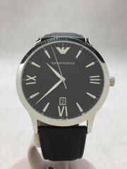 クォーツ腕時計/アナログ/レザー/BLK/AR-11210