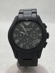 クォーツ腕時計/アナログ/ステンレス/BLK/BLK/AR-1457/エンポリオアルマーニ