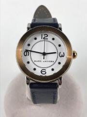 クォーツ腕時計/アナログ/レザー/NVY/MJ1604/傷有