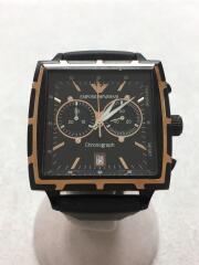 クォーツ腕時計/アナログ/ラバー/BLK/BLK/エンポリオアルマーニ/中古