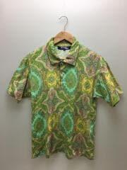 ポロシャツ/M/コットン/GRN/総柄/WO-T029
