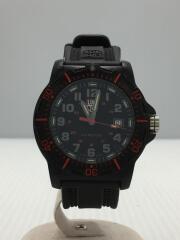クォーツ腕時計/アナログ/ラバー/BLK/BLK/付属品なし