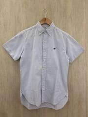 半袖シャツ/36/コットン/インディゴ/無地