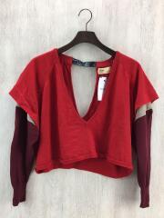 セーター(薄手)/ウール/RED/無地