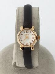 腕時計/アナログ/レザー/WHT/BLK