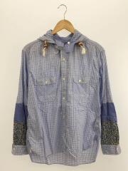 20SS フーデットシャツジャケット/S/コットン/BLU/チェック/WE-B036/AD2019
