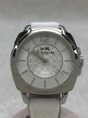 クォーツ腕時計/アナログ/レザー/SLV/WHT