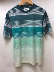 MERGE TEE/Tシャツ/S/コットン/グリーン/ボーダー