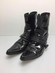 ブーツ/40/BLK/エナメル